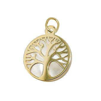 Pendant 12mm tree of life with mother of Pearl 9Kt GOLD