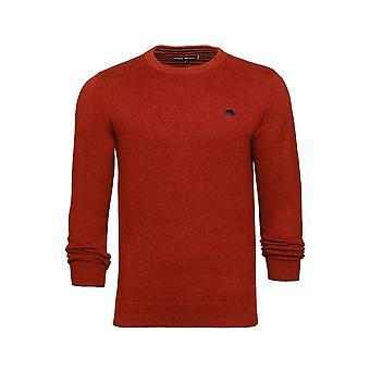 Crew Neck Cotton Cashmere Sweater - Orange