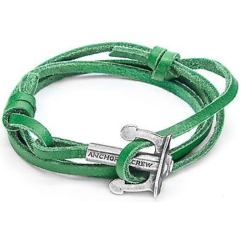 Anchor and Crew Union Silver and Leather Bracelet - Fern Green