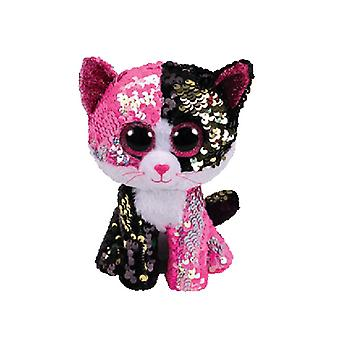 TY Flippable Malibu Pink/Black Sequin Cat Beanie