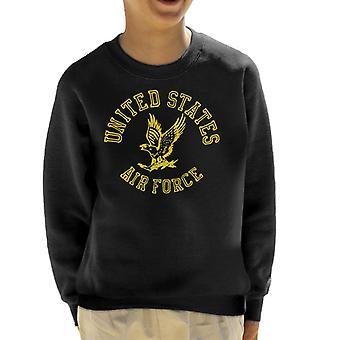 US Airforce Eagle Yellow Text Kid's Sweatshirt