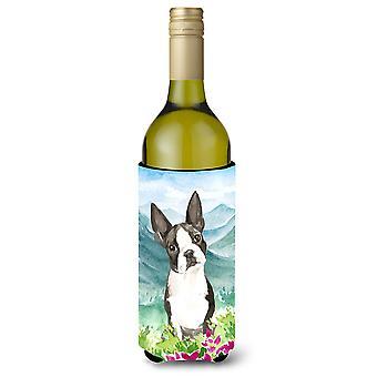 Mountain Flowers Boston Terrier Wine Bottle Beverage Insulator Hugger