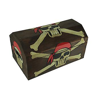 Wooden Pirate Skull Treasure Chest Storage Box