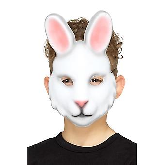Rabbit Mask White Kids EVA, Children's Animal Fancy Dress, One Size