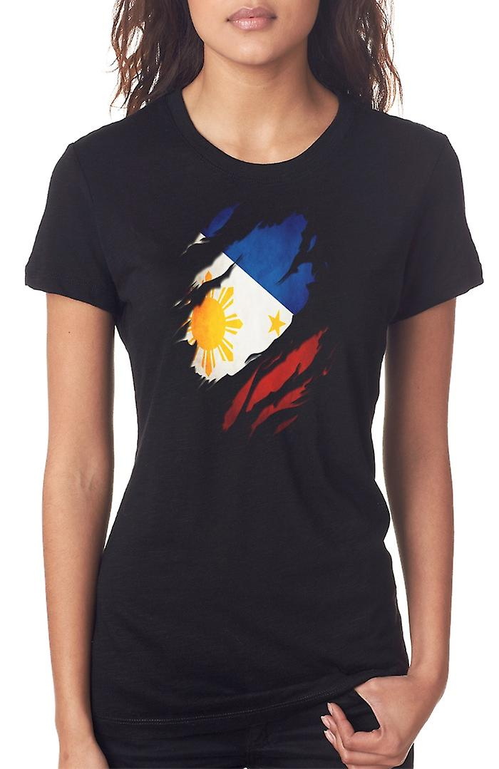 The Phillipine Grunge Flag Ripped Effect Ladies T Shirt