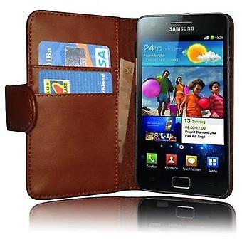 Cadorabo Hülle für Samsung Galaxy S2 / S2 PLUS Case Cover - Handyhülle aus glattem Kunstleder mit Standfunktion und Kartenfach – Case Cover Schutzhülle Etui Tasche Book Klapp Style