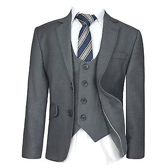 Boys  Slim Fit  Grey Suit Set