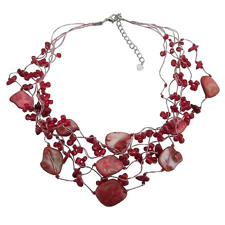 Coral & Shell Multistring Necklace Red Beads Coral Shell Necklace