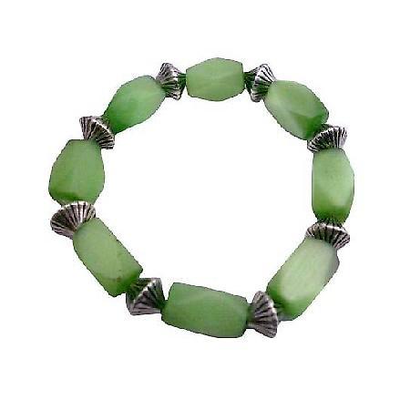 Green Barrel Cat Eye Stretchable Bracelet Daisy Spacing Beads Bracelet
