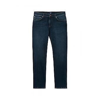 GANT Chip Jeans Mens Narrow Fit Low Waist Trousers - Blue