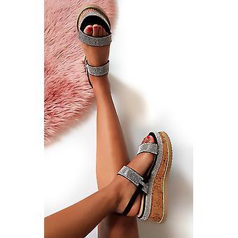 IKRUSH dame Rach Diamante forskønnet Flatform sandaler