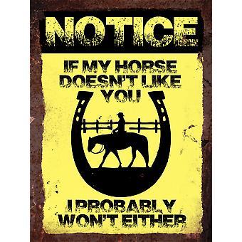 Vintage Metall Wall Sign - wenn mein Pferd nicht wie Sie