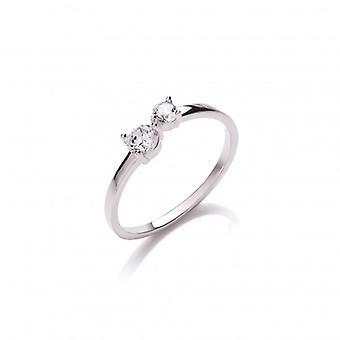 Cavendish francés plata y CZ Simple abren anillo