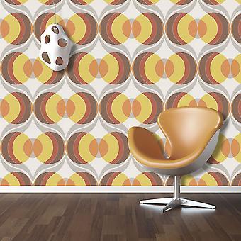 Retro Circle Wallpaper Luxury Paste The Wall Vinyl Rasch Chocolate Yellow Orange