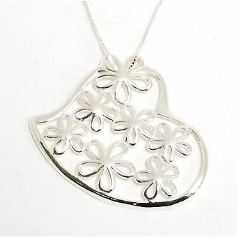 Toc Sterling Silver Filigree Flower in Heart Pendant in 18 Inch Chain