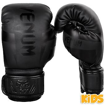 Venum Kids Elite Boxing Gloves - Matte Black