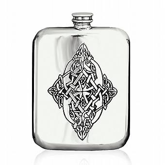 Celtic Design Pewter Hip Flask - 6Oz (Cel127)