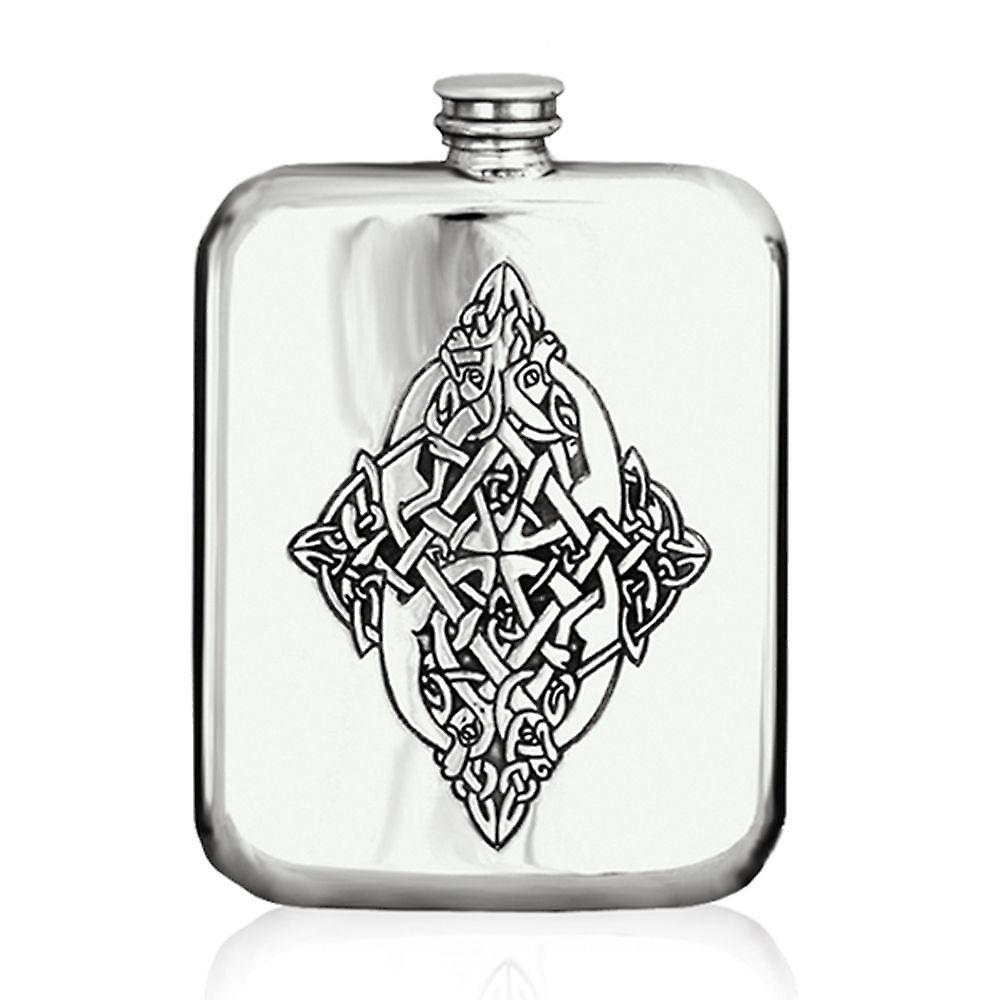 6oz Llyr Stamped Flask Pewter - Cel127