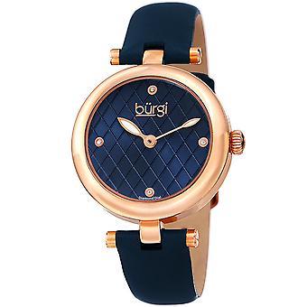 Burgi Women's BUR196 Diamond Markers Argyle Pattern Dial Leather Strap Watch BUR196BU