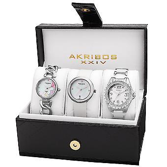 Akribos XXIV Women's AK887 Diamond Bracelet/Strap Watch Set AK887SS