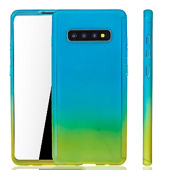 Samsung Galaxy S10 Phone Case Protection Case Full Cover Tank Protection Foil Blue/ Yellow Samsung Galaxy S10 Phone Case