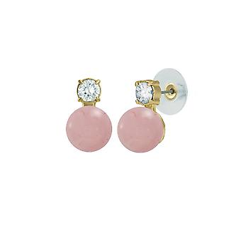 Eternal Collection Eternity Rose Quartz & CZ Gold Stud Pierced Earrings