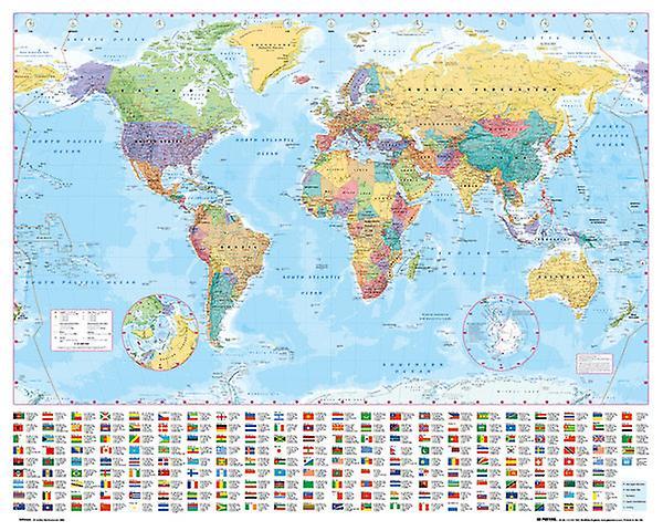 Världen karta 2012 Mini affisch 40x50cm