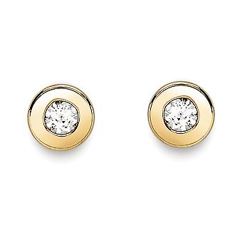 Jewelco London 9ct Gold Cubic Zirconia Donut Ring Rubover Round Stud Earrings 3mm