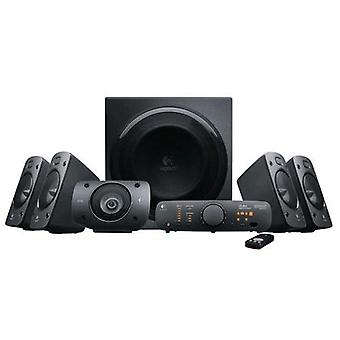 Logitech z906 surround sound speaker system 5.1 power 500w rms with black remote control official
