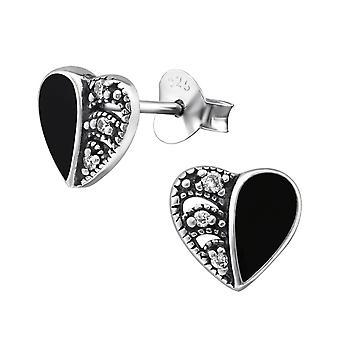 Hjerte - 925 Sterling sølv Cubic Zirconia øret knopper - W30953X