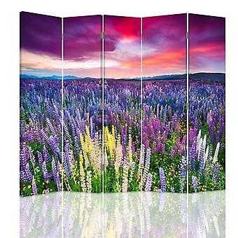 Room Divider, 5 Panels, Double-Sided, 360 ° Rotatable, Canvas, Meadow Full Of Flowers