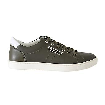 Dolce & Gabbana Green Leather Casual Gym Sport Scarpe Sneakers -- MV20369456