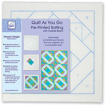 Quilt As You Go Printed Quilt Blocks On Batting-Mosaic Magic JT1401