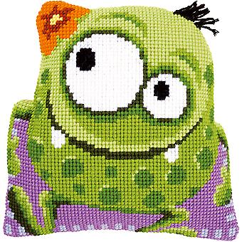 Monster With A Flower Shaped Cushion Cross Stitch Kit-15.75