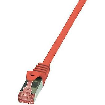 RJ49 Networks Cable CAT 6 S/FTP 0.5 m Red Flame-retardant, incl. detent LogiLink