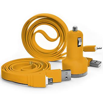 Samsung Galaxy A7 In Car Dual Port 2.1 Amp Bullet USB Charger + 2x Micro USB Data Sync Cable (Yellow)