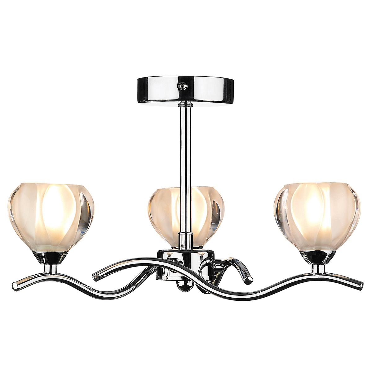 Dar CYN0350 Cynthia Modern Chrome 3 Arm Semi-Flush Ceiling Light With Glass