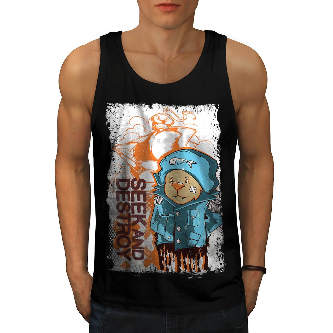Seek Destroy Bear Animal Men Black Tank Top | Wellcoda