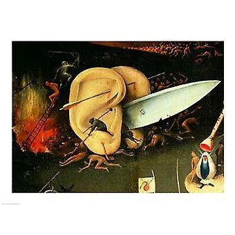 Trädgården av jordiska läckerheter helvetet högerkanten av triptyk detalj av öron med en kniv c1500 affisch skriva ut av Hieronymus Bosch