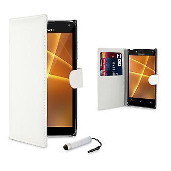 Boken plånbok fallet täcker för Huawei Ascend G7 + penna - vit