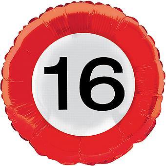 Folie ballong trafikk tegn nummer 16 bursdag helium ballong