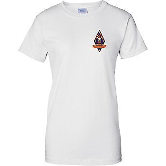 1st Battalion Recon - USMC Elite Unit - Military Insignia - Ladies Chest Design T-Shirt