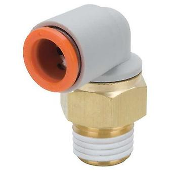 SMC Pneumatic Elbow Threaded-To-Tube Adapter, R 1/4 Male, Push In 1/4 In