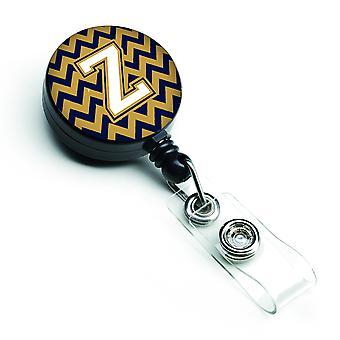 Carrete retráctil insignia letra Z Chevron Marina azul y oro