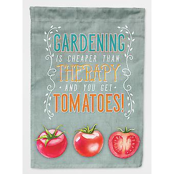 Carolines Treasures  BB5432GF Gardening Therapy and Tomatoes Flag Garden Size