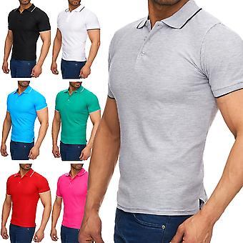Men's contrast uni short-sleeved polo shirt collar T-Shirt polo shirt basic Slimfit
