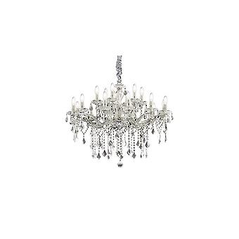 Florian Chrome And Clear Glass Eighteen Light Chandelier With Crystals - Ideal Lux 75150