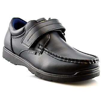 Boys Hard Wearing Back To School Touch Fastening Black Formal Shoes