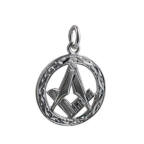 Silver 21mm engraved Masonic emblem in a circle Pendant