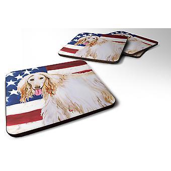 Set of 4 Afghan Hound Patriotic Foam Coasters Set of 4